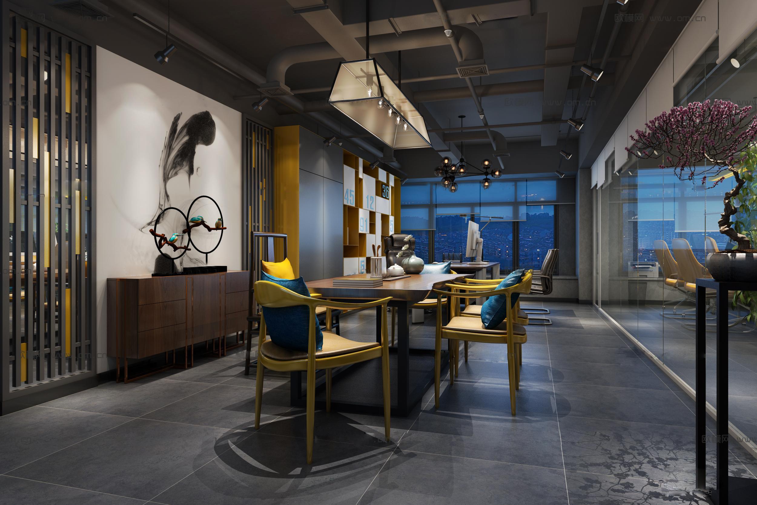 现代简约风和工业风相结合的办公室装修